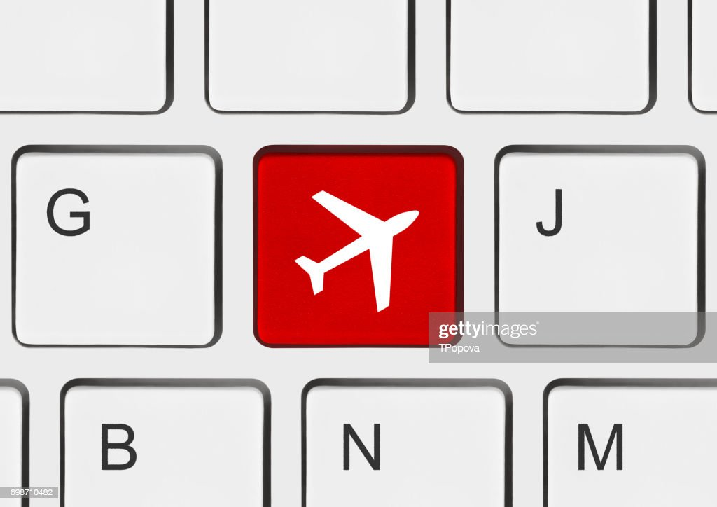 Computer Keyboard With Plane Key Stock Photo Getty Images