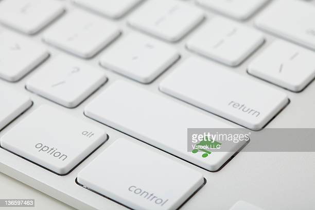 Computer keyboard with shopping cart icon on key