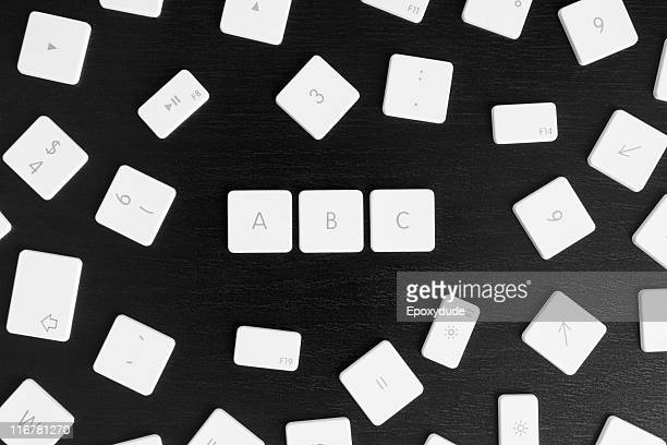 Computer keys A, B and C in alphabetical order