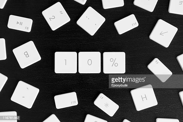 Computer keys arranged to read 10%