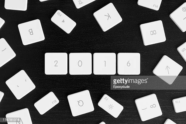 Computer keys arranged to read the calendar year 2016
