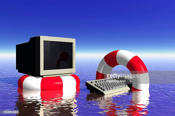 Computer, life buoys, symbolic image data backup, data recovery, 3D graphics