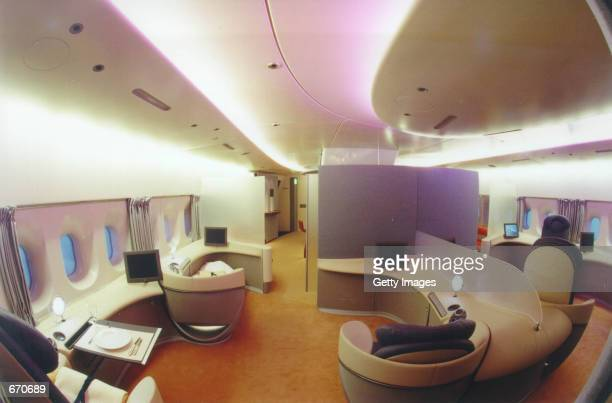A computer mock up shows the interior cabin of the Superjumbo Airbus A380 Airbus has committed itself to the production of the A380 which will begin...