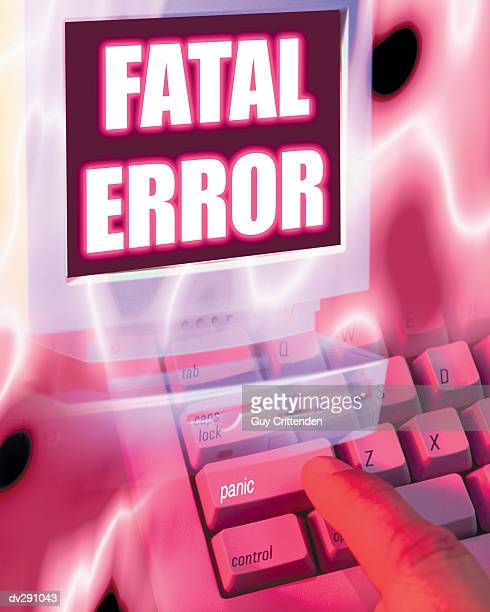 Computer monitor showing Fatal error' message and Panic key