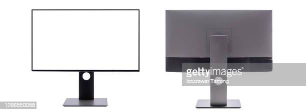 computer monitor with black screen saver and shadow for system unit front, back  isolated on white background. - microsoft stock pictures, royalty-free photos & images