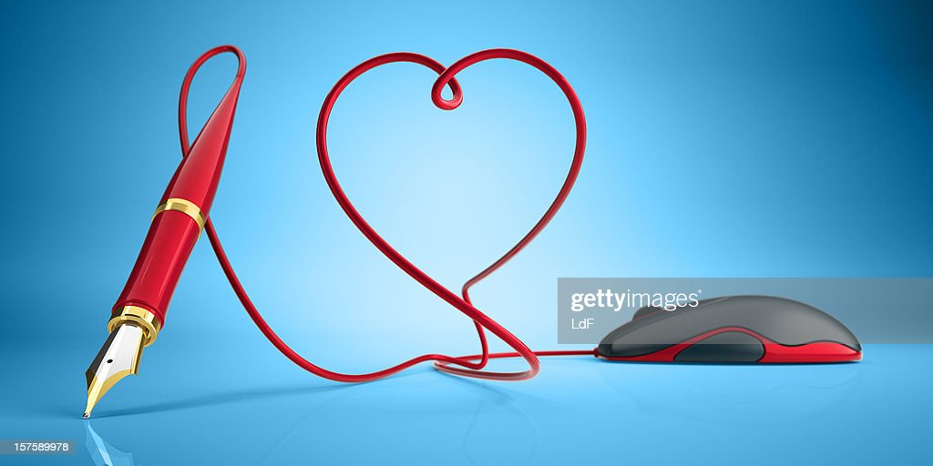 Computer mouse and fountain pen love concept : Stock Photo
