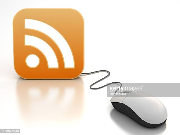 Computer mouse connected to RSS feed icon - clipping path