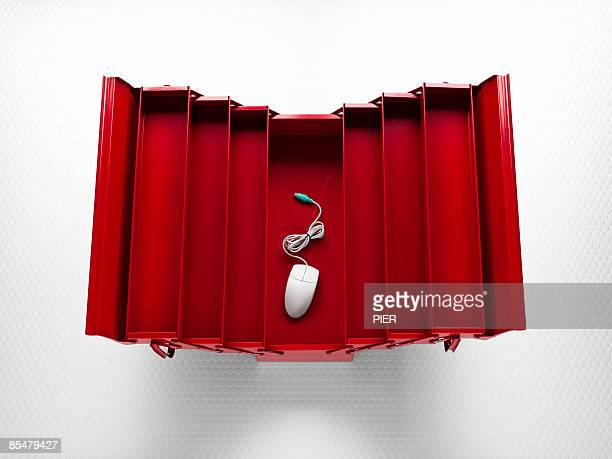 computer mouse in toolbox - toolbox stock photos and pictures