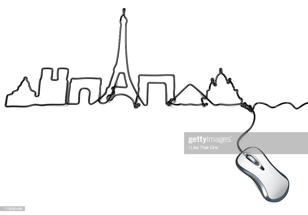 Miraculous Computer Mouse With Cable Forming Paris Skyline Stock Photo Getty Wiring 101 Ferenstreekradiomeanderfmnl