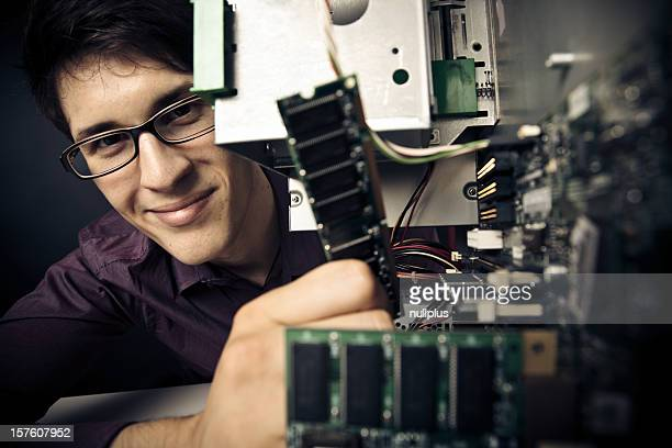 computer nerd upgrading his hardware