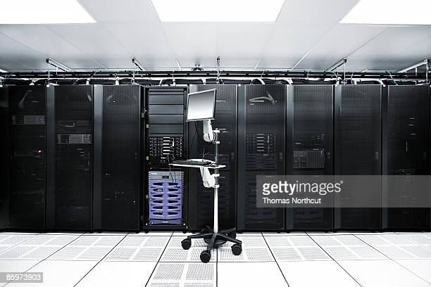 Computer on a crash cart connected to server.