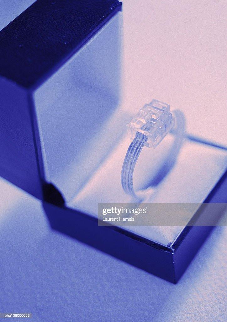 Computer plug presented as gift, close-up. : Stockfoto