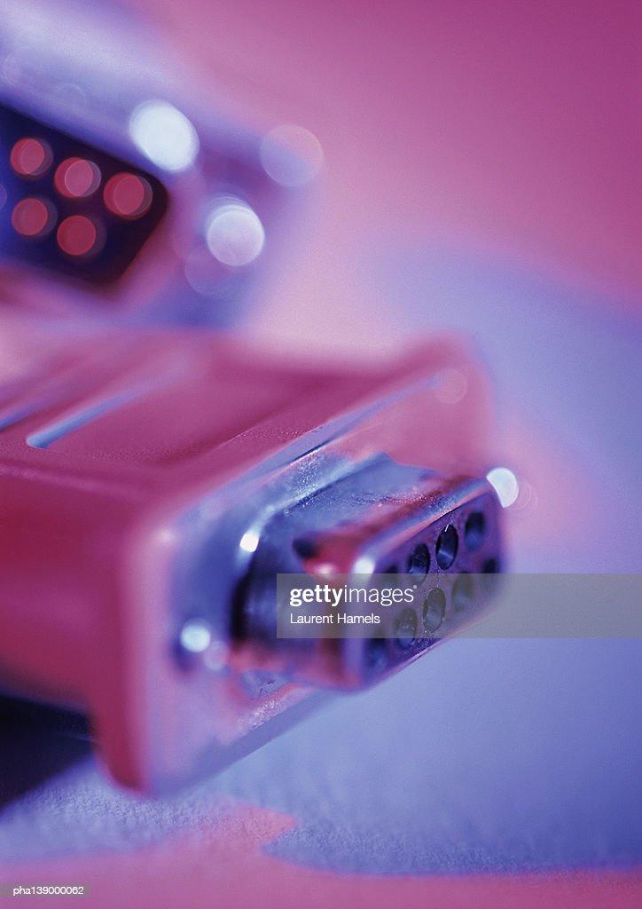 Computer plugs, close-up. : Stockfoto