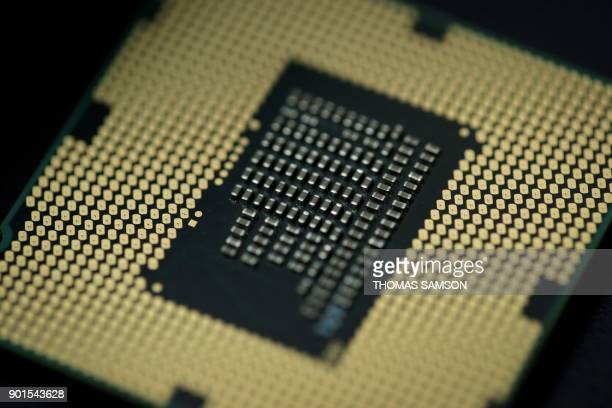 A computer processor is pictured on January 5 2018 in Paris As tech giants race against the clock to fix major security flaws in microprocessors many...