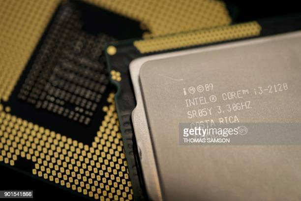 Computer processors by US technology company Intel are pictured on January 5 2018 in Paris As tech giants race against the clock to fix major...