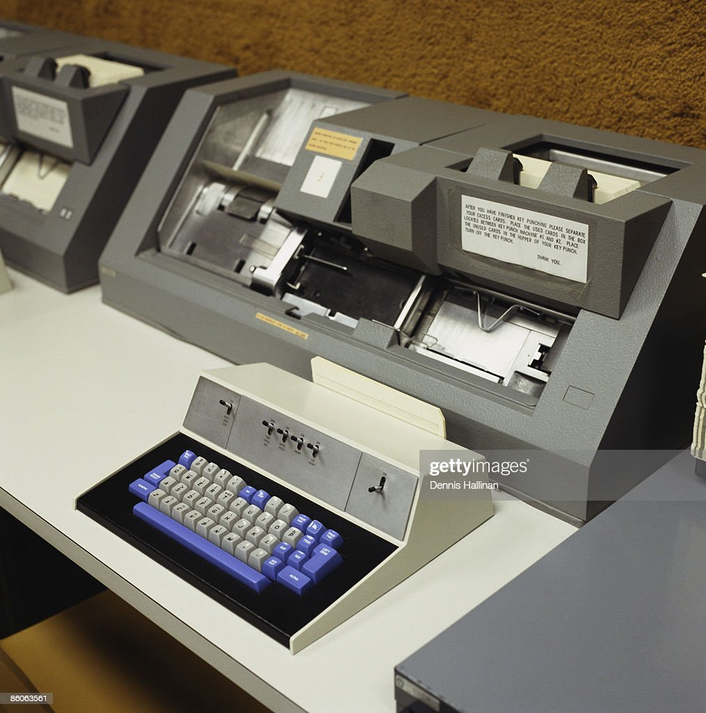 computer punch card machine stock photo getty images