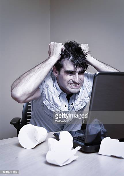 computer rage - pulling hair stock photos and pictures