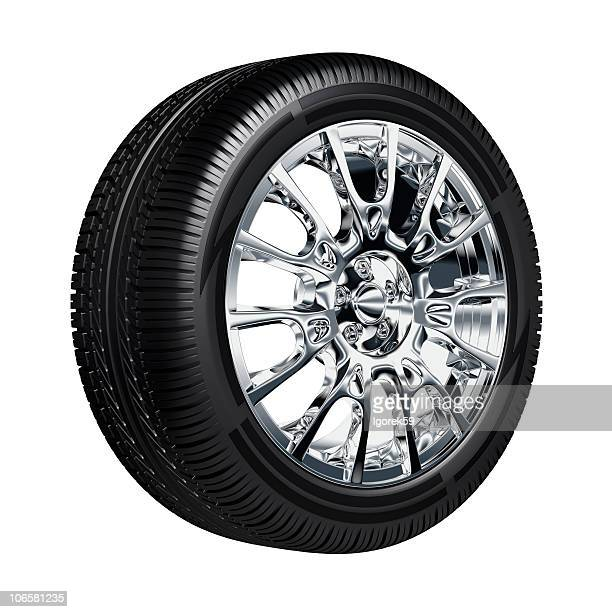 Computer rendering of a tire on chrome rims