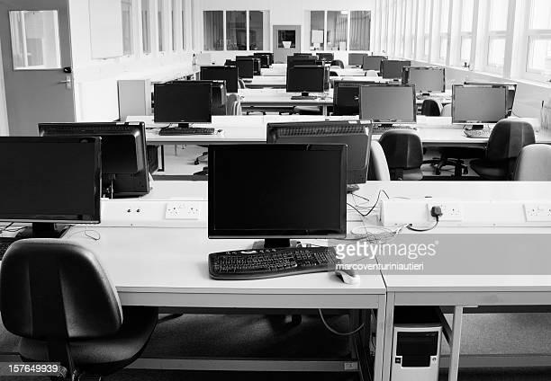 Computer room: PCs arranged on several desks