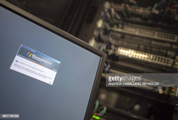A computer running a Windows Server is seen connected into a network server in an office building in Washington DC on May 13 2017 International...