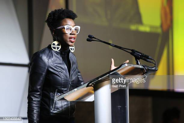 Computer scientist, Joy Buolamwini speaks onstage during the 2020 Women at Sundance Celebration hosted by Sundance Institute and Refinery29,...