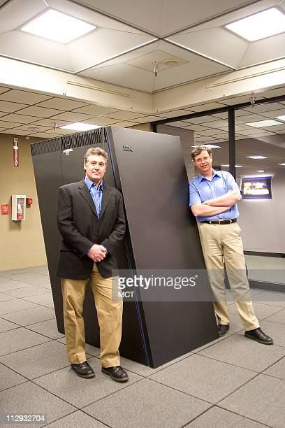 Computer scientists Henry Tufo and Richard Loft show off their world recordholding supercomputer an IBM BlueGene/L at the University Corporation for...