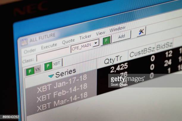 A computer screen at the Cboe Global Markets exchange shows Bitcoin futures prices and trades on December 19 2017 in Chicago Illinois Last week the...