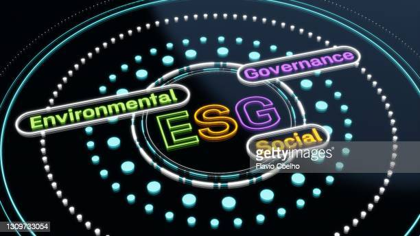 computer screen displaying esg concept design - business strategy stock pictures, royalty-free photos & images