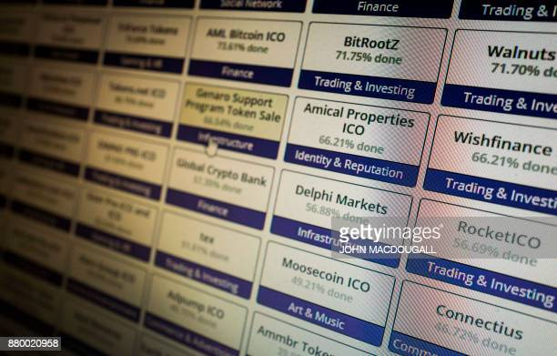 A computer screen displays a website featuring cryptocurrency token sales and ICO lists in Berlin on November 26 2017 Bypassing oversight of any kind...