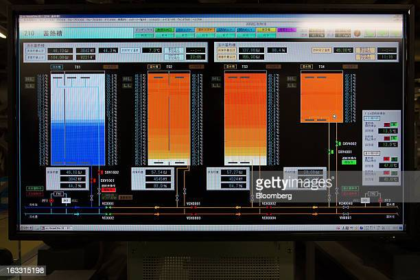 A computer screen displays water thermal storage tank management indicators in the main plant of the District Heating and Cooling System operated by...