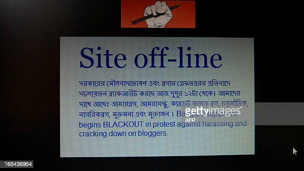 A computer screen in Bangladesh displays an offline webpage in Dhaka on April 4 2013 Operators of top Bangladeshi blogs said Thursday they had...