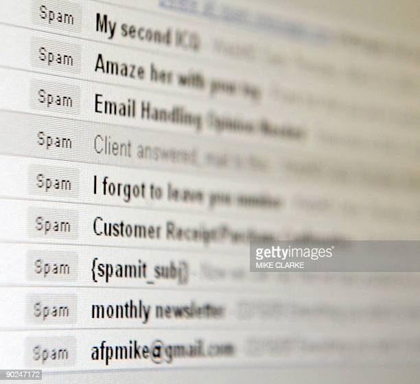 "Computer screen inbox displaying unsolicited emails known as ""spam"" in Hong Kong on March 20, 2009. The territory is under siege from legions of..."