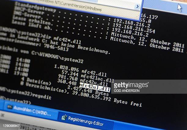 A computer screen of Dirk Engling spokesperson of the Chaos Computer Club shows the file name of the Trojan spyware allegedly made by the German...