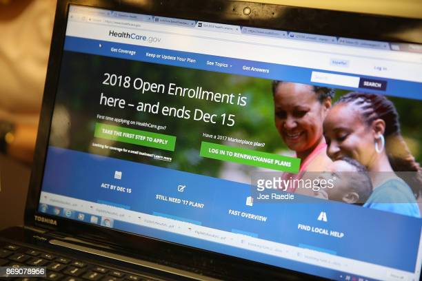 Computer screen shows the enrollment page for the Affordable Care Act on November 1, 2017 in Miami, Florida. The open enrollment period to sign up...