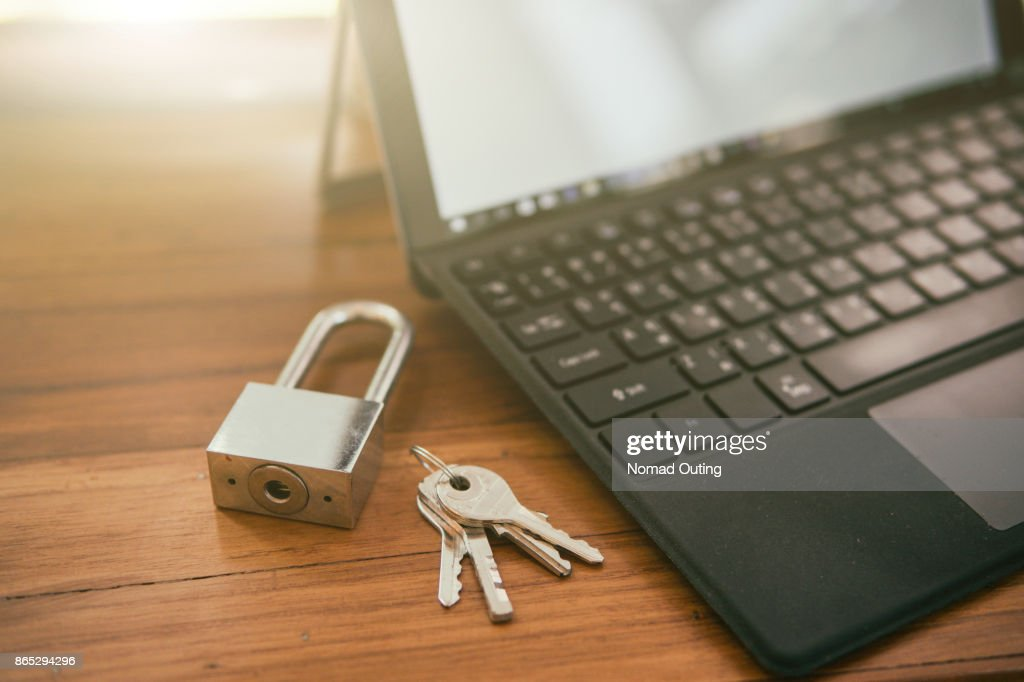 computer security protection,private data protection form hacker malware ransom concept. : Stock Photo