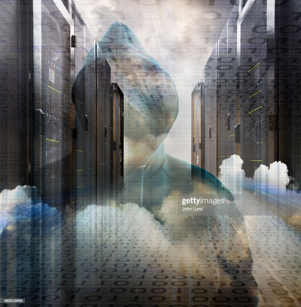 Computer Servers, Hackers and Cloud Computing Security Issues : Stock Photo