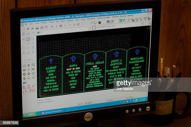 A computer shows mockups of tombstones including one for Master Sgt Ivica Jerak of Houston Texas who was killed in Iraq to be used for stencils in...