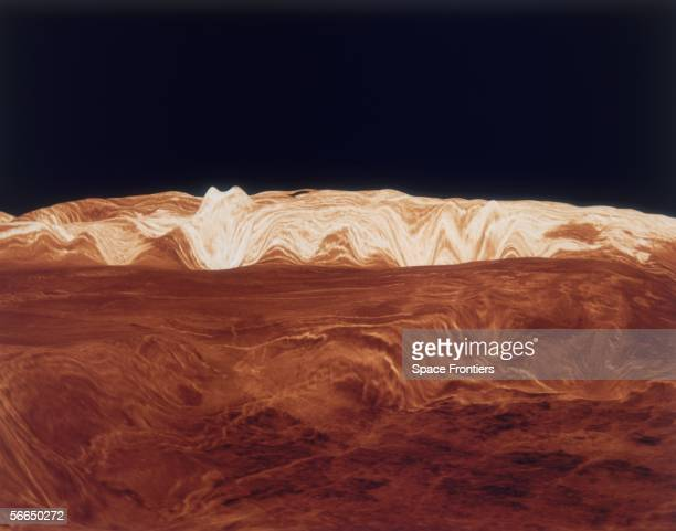 A computer simulation of the surface of the planet Venus circa 1990
