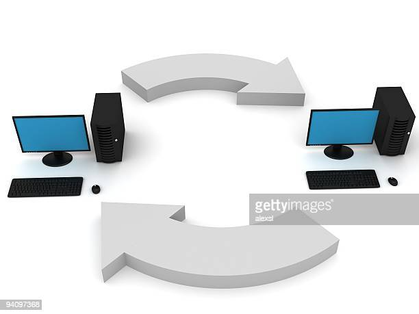 computer synchronization - computer system diagram stock photos and pictures