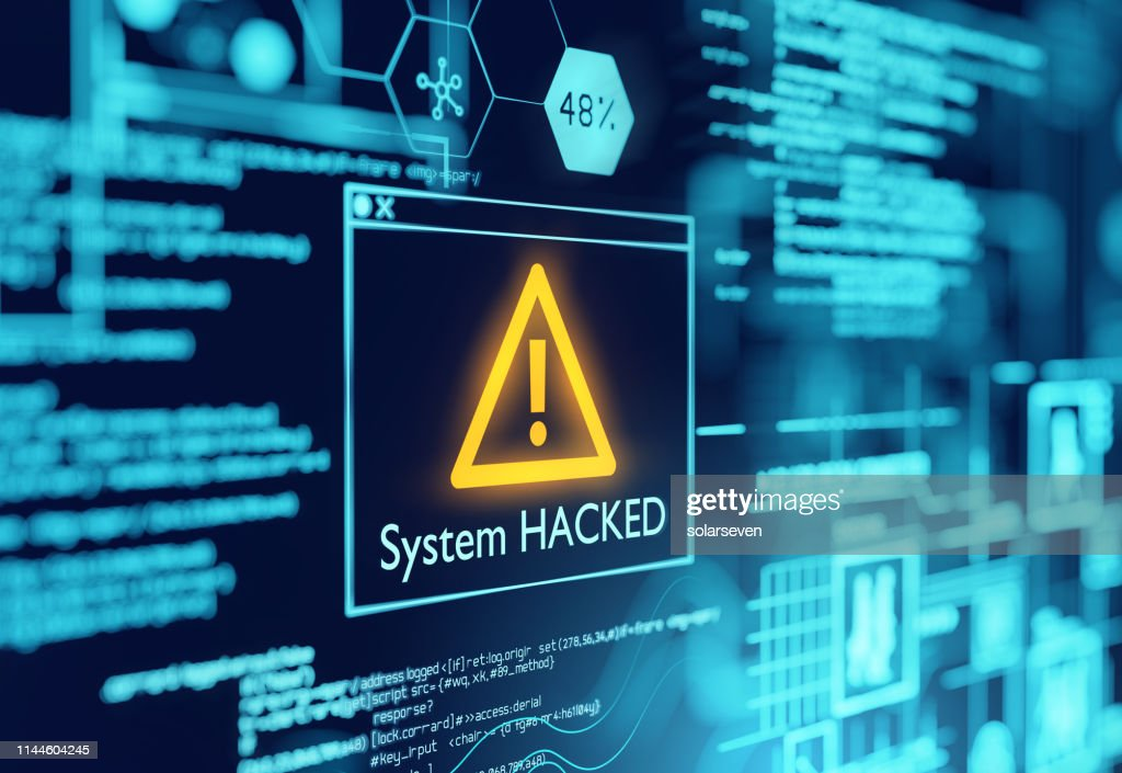 A Computer System Hacked Warning : Stock Photo