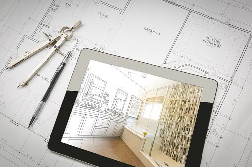 Computer Tablet with Master Bathroom Design Over House Plans, Pencil and Compass. 944868058