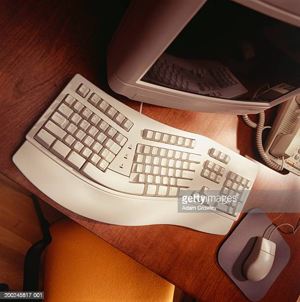 Computer with ergonomic keyboard, (elevated view)