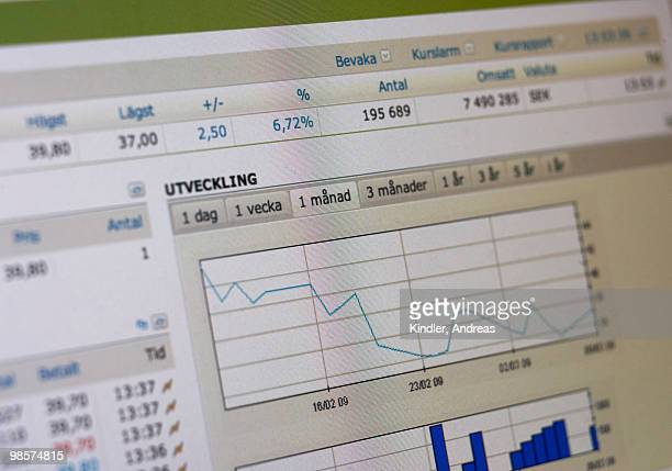 computer with the stock-exchange rate, sweden. - computer system diagram stock photos and pictures