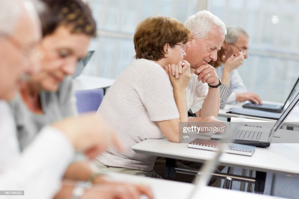 Computer workshop for seniors : Stock Photo