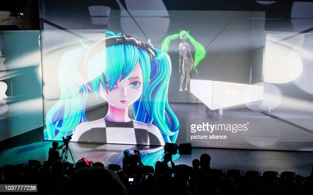 Computeranimated singer Hatsune Miku singing on a screen during the photo rehearsal of the opera 'The End' in Hamburg Germany 18 August 2016 The...