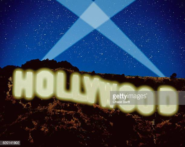 Computer-Enhanced Image of Hollywood Sign