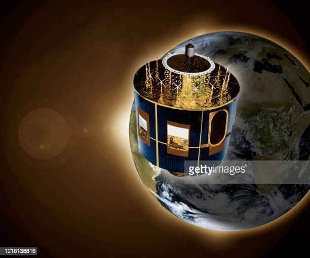 A computergenerated image shows the new Meteosat Second Generation in orbit as seen by an artist At around 0030h Central European Summer Time 2728...