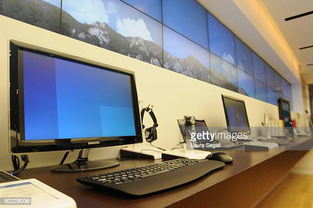 Computers line the walls of the Microsoft Store at Scottsdale Fashion Square October 22 2009 in Scottsdale Arizona The store is Microsoft's first...