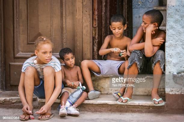 Comrades on the steps Havana
