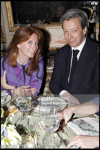 Comtesse Marie Brandolini D'Adda, Frederic Dalle at The Gala Dinner At The Italian Embassy In Paris In Aid Of The Restuaration Of The Royal Palace In...